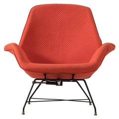 Augusto Bozzi Adjustable Orange Lounge Chair for Saporiti