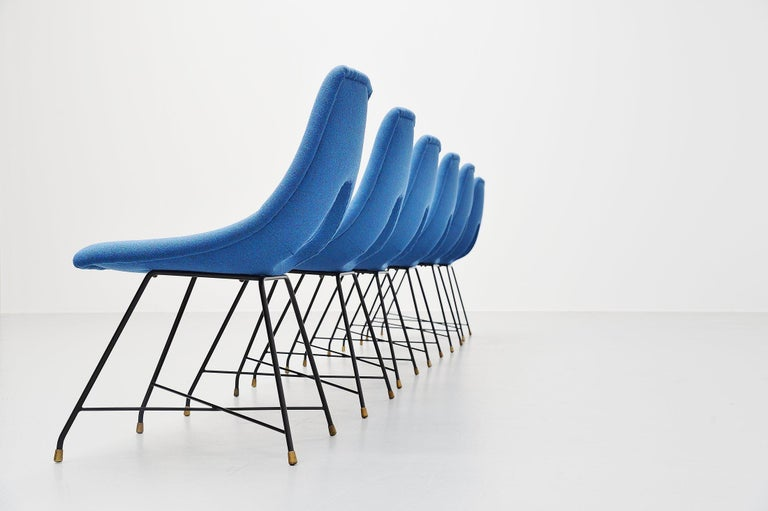 Mid-Century Modern Augusto Bozzi Cosmos Dining Chairs 6 Saporiti, Italy, 1954 For Sale