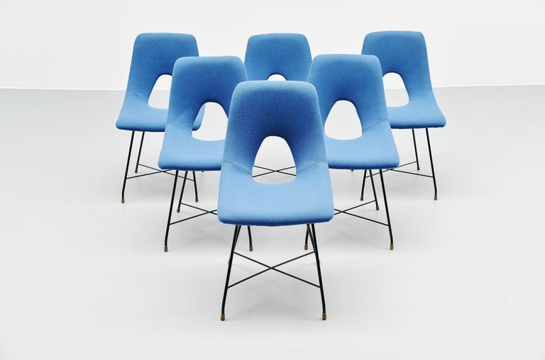 Augusto Bozzi Cosmos Dining Chairs 6 Saporiti, Italy, 1954 In Good Condition For Sale In Roosendaal, Noord Brabant