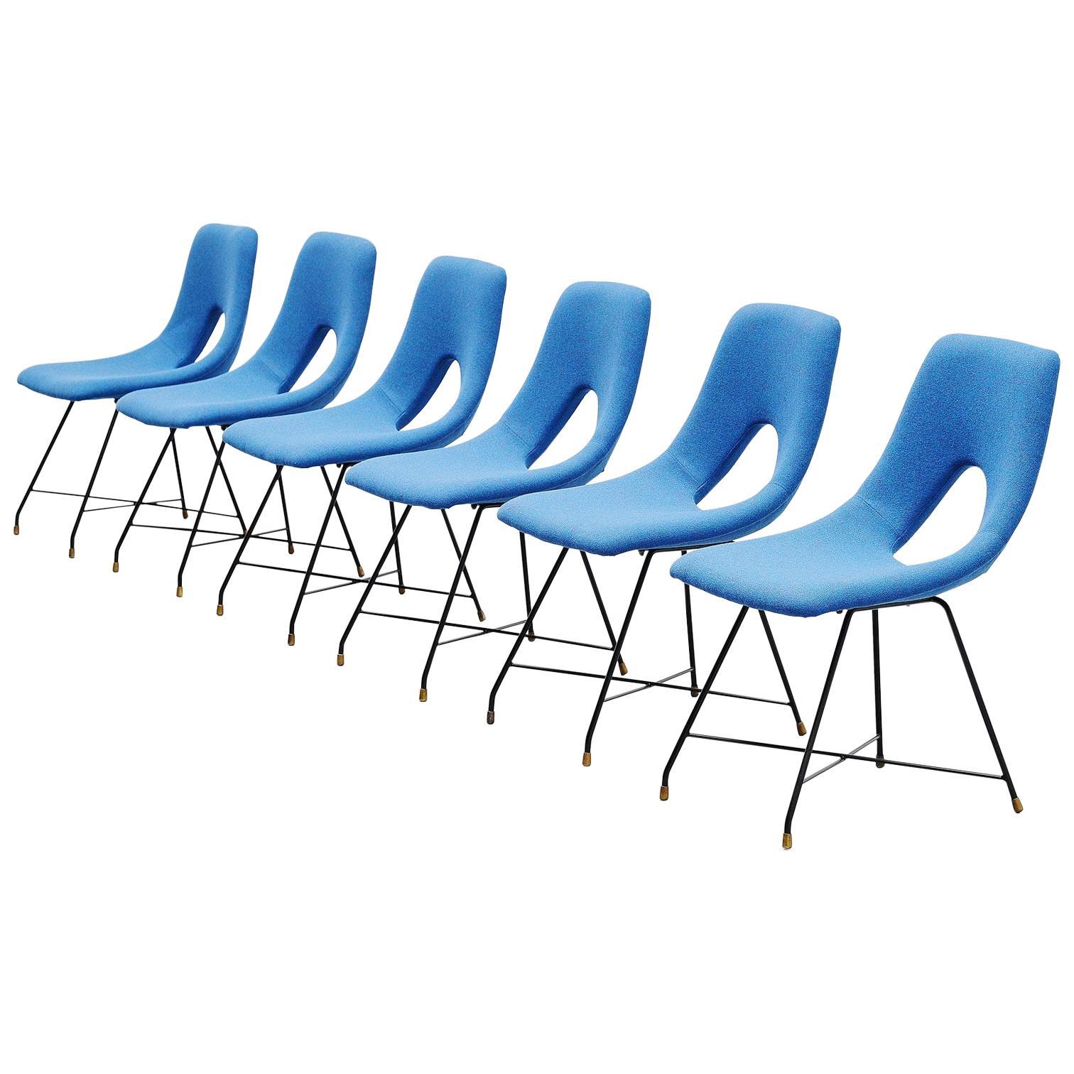 Augusto Bozzi Cosmos Dining Chairs 6 Saporiti, Italy, 1954