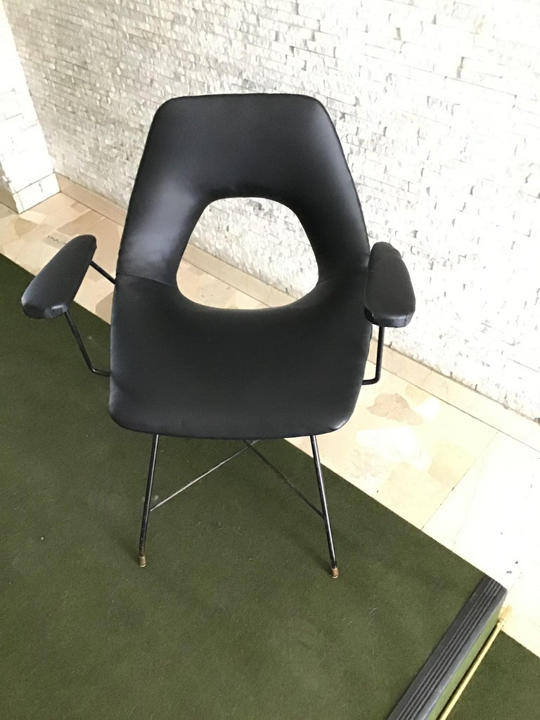 Other Augusto Bozzi for Saporiti Armchair Iron Brass Ecological Leather, 1954, Italy