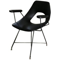Augusto Bozzi for Saporiti Armchair Iron Brass Ecological Leather, 1954, Italy