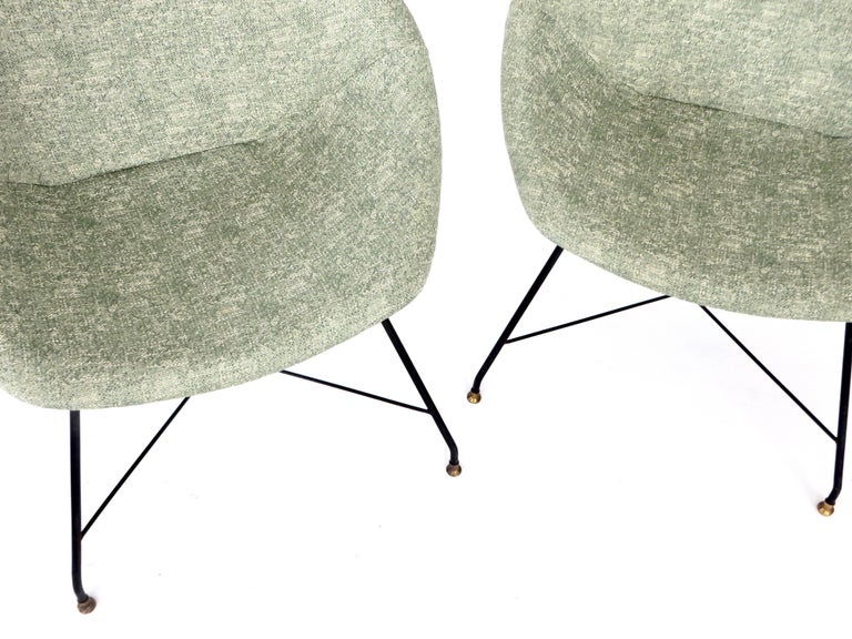 Augusto Bozzi for Saporiti Italia Pair of Italian Lounge Chairs  For Sale 7