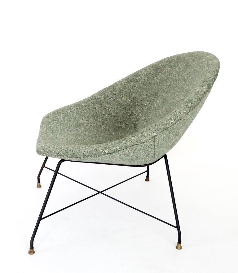Mid-Century Modern Augusto Bozzi for Saporiti Italia Pair of Italian Lounge Chairs  For Sale