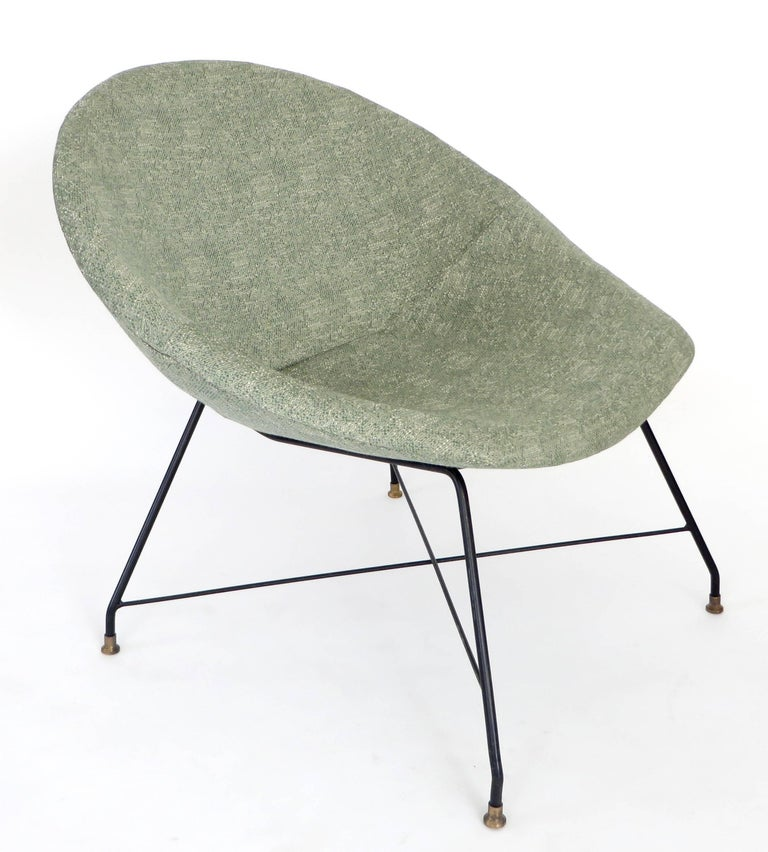 Brass Augusto Bozzi for Saporiti Italia Pair of Italian Lounge Chairs  For Sale