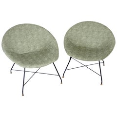Augusto Bozzi for Saporiti Italia Pair of Italian Lounge Chairs