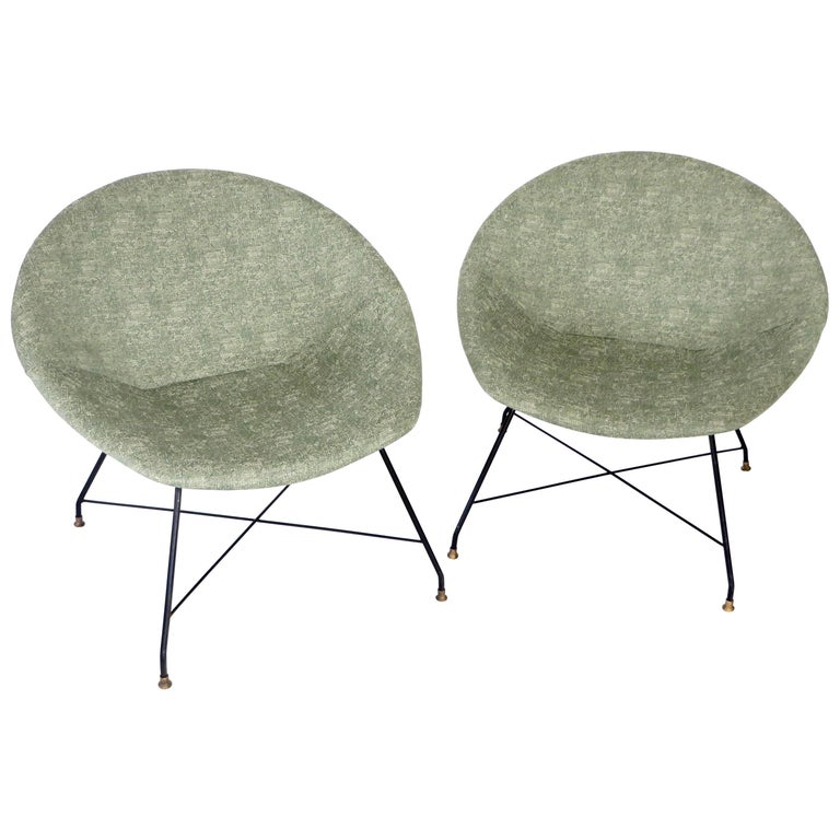 Augusto Bozzi for Saporiti Italia Pair of Italian Lounge Chairs  For Sale