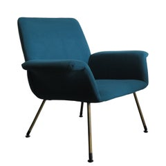 Augusto Bozzi Italian Midcentury Light Blue Armchair for Saporiti Italia, 1960s
