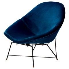 Augusto Bozzi 'Kosmos' Chair for Saporiti in Blue Velvet, Italy, 1956