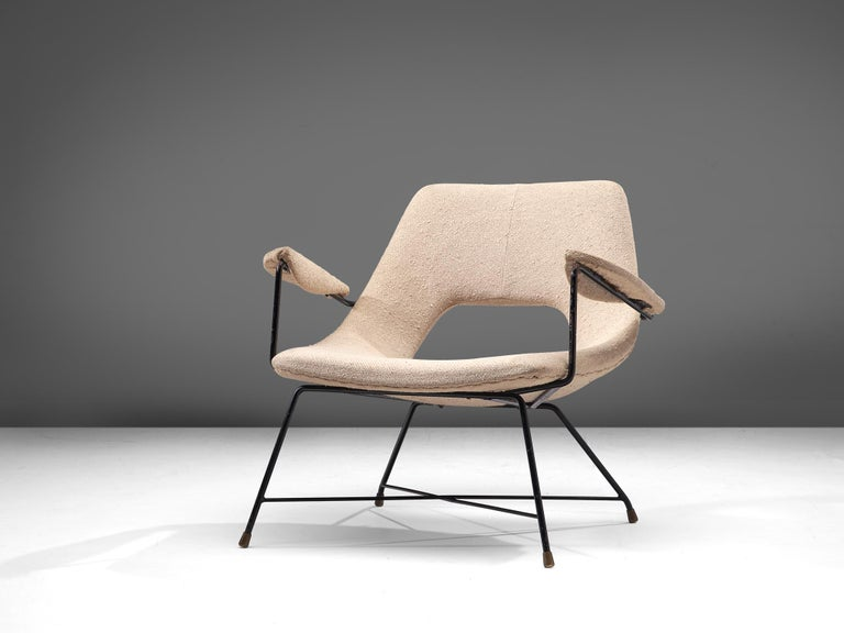 Mid-Century Modern Augusto Bozzi Lounge Chair with Metal Frame For Sale