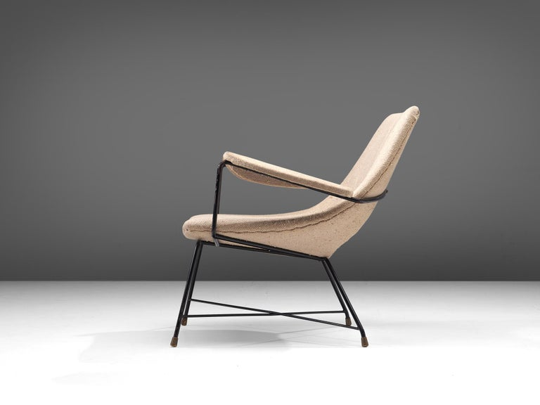 Italian Augusto Bozzi Lounge Chair with Metal Frame For Sale