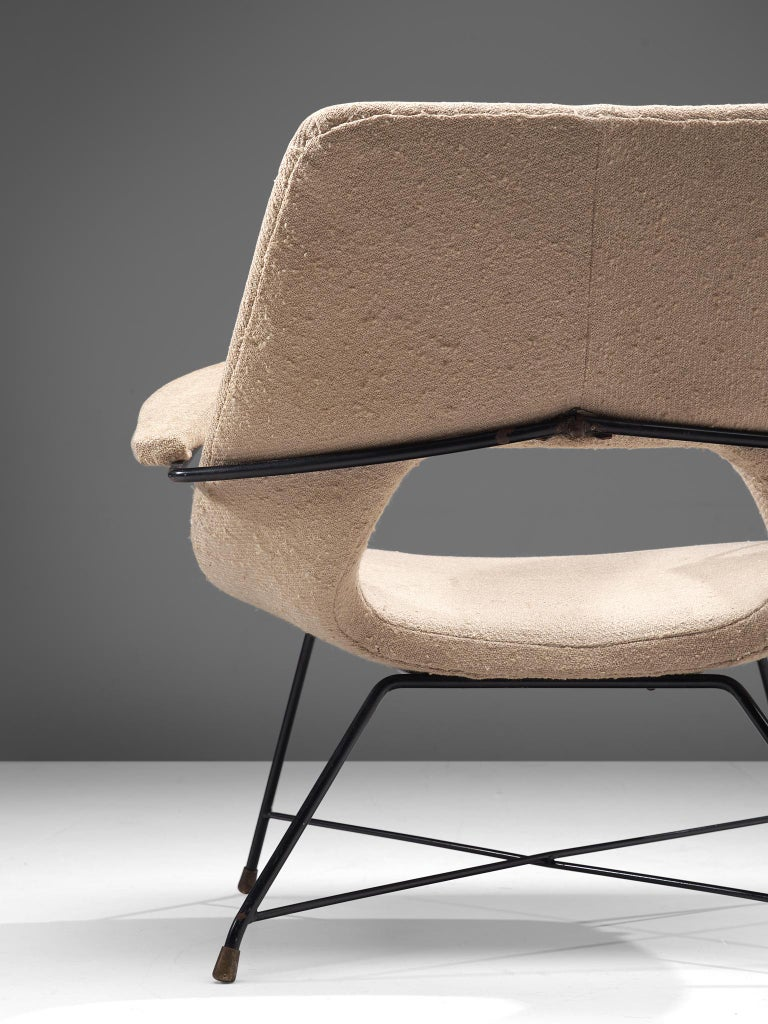 Augusto Bozzi Lounge Chair with Metal Frame In Fair Condition For Sale In Waalwijk, NL