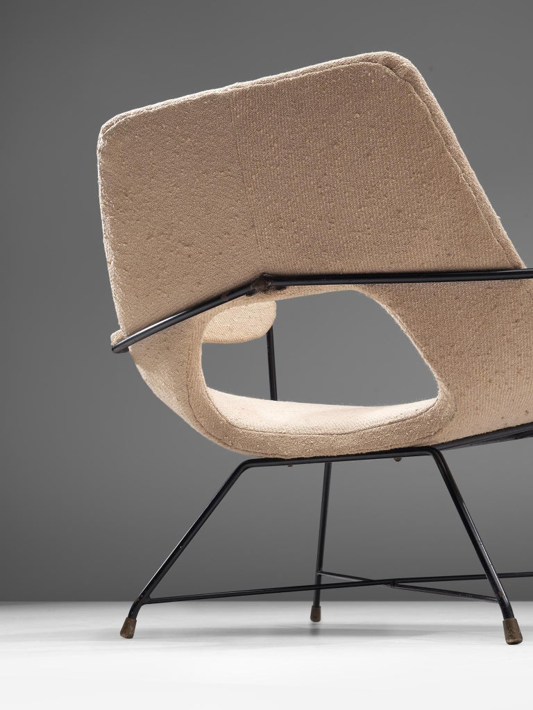 Mid-20th Century Augusto Bozzi Lounge Chair with Metal Frame For Sale