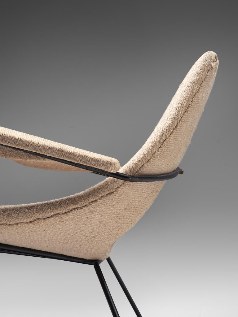 Augusto Bozzi Lounge Chair with Metal Frame For Sale 1