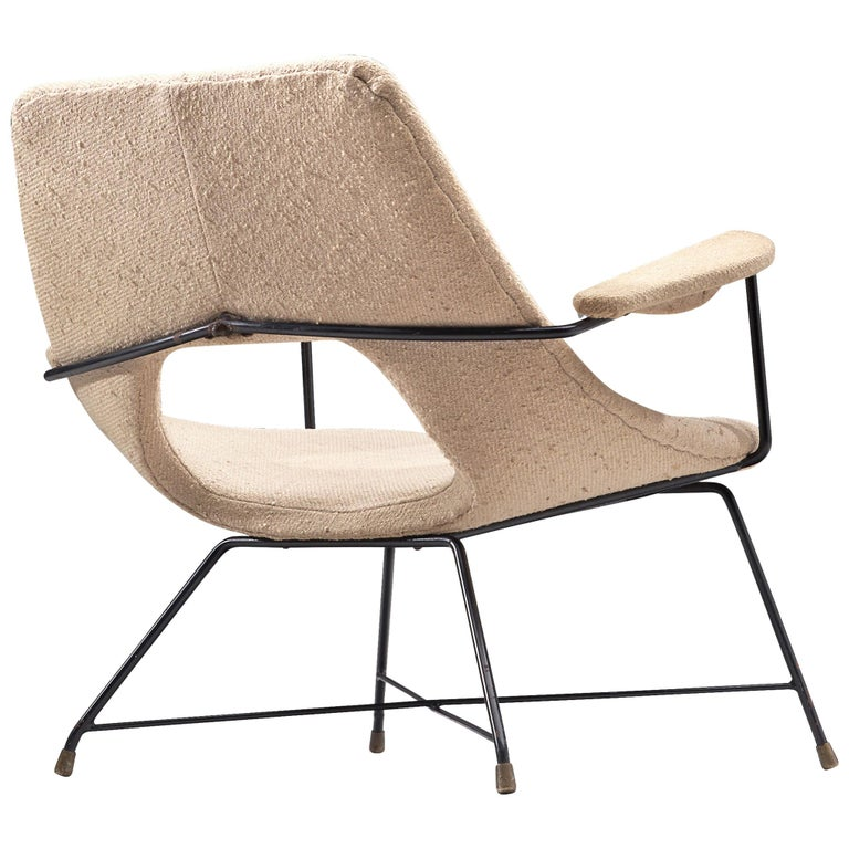 Augusto Bozzi Lounge Chair with Metal Frame For Sale