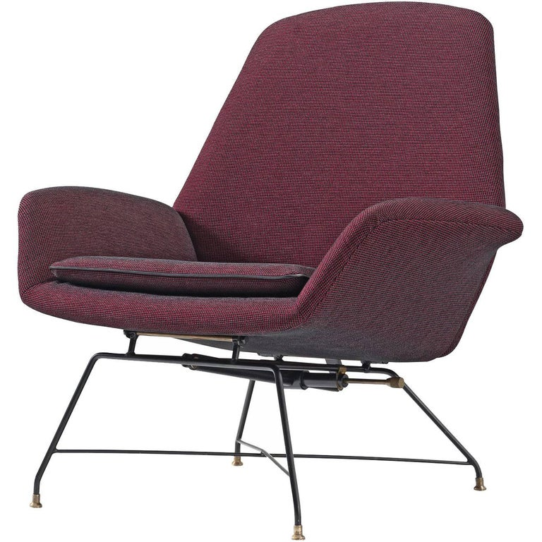 Augusto Bozzi Newly Upholstered Purple Adjustable Easy Chair for Saporiti