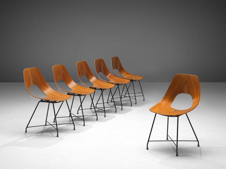 Mid-Century Modern Augusto Bozzi Saporiti Set of 'Ariston' Dining Chairs in Teak For Sale