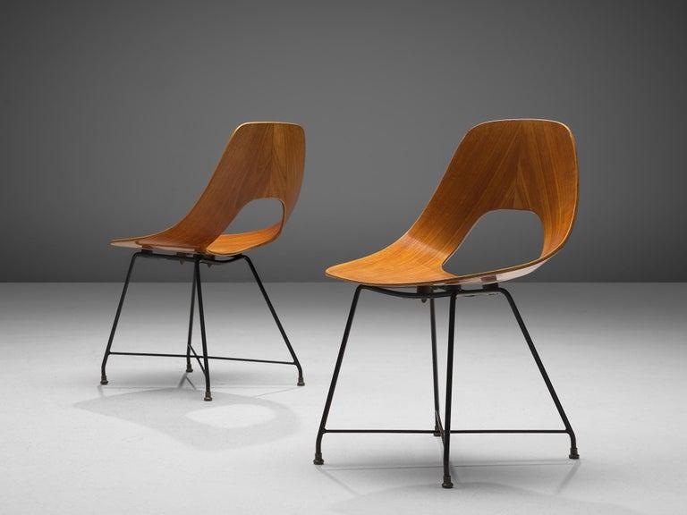 Mid-20th Century Augusto Bozzi Saporiti Set of 'Ariston' Dining Chairs in Teak For Sale