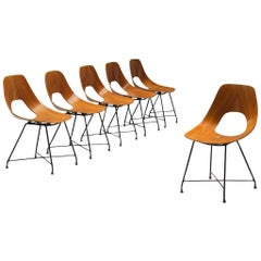 Augusto Bozzi Saporiti Set of 'Ariston' Dining Chairs in Teak
