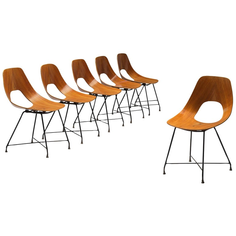 Augusto Bozzi Saporiti Set of 'Ariston' Dining Chairs in Teak For Sale