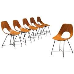 Augusto Bozzi Saporiti Set of 'Ariston' Dining Chairs in Teak
