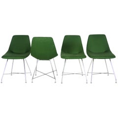 """Augusto Bozzi Set of 4 """"Aster"""" Green and Chrome Chairs for Saporiti, 1950s"""