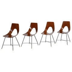 Augusto Bozzi Set of Four Wooden Chairs Ariston for Saporiti, 1950