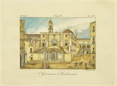 S. Giovanni a Carbonara - Original Etching by Augusto Fornari - 19th Century