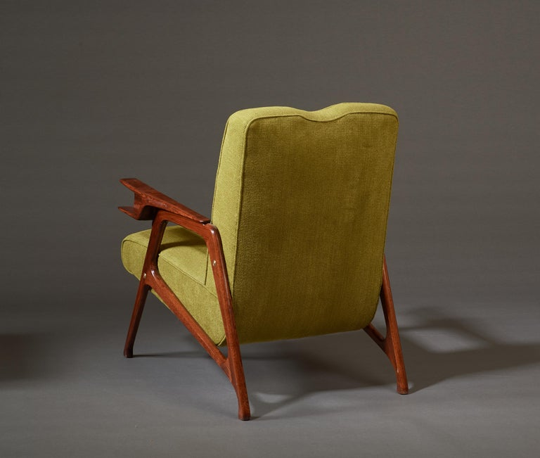 Augusto Romano, Architectural Mahogany Armchair and Ottoman, Italy, 1950s For Sale 3