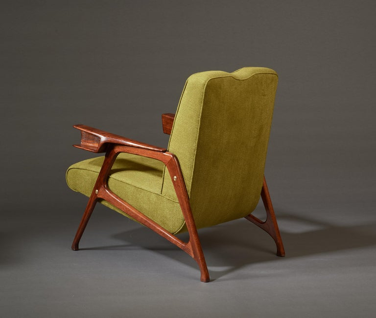 Augusto Romano, Architectural Mahogany Armchair and Ottoman, Italy, 1950s For Sale 4