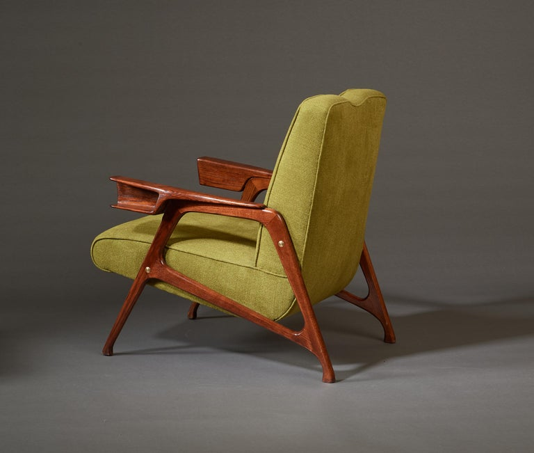 Augusto Romano, Architectural Mahogany Armchair and Ottoman, Italy, 1950s For Sale 5