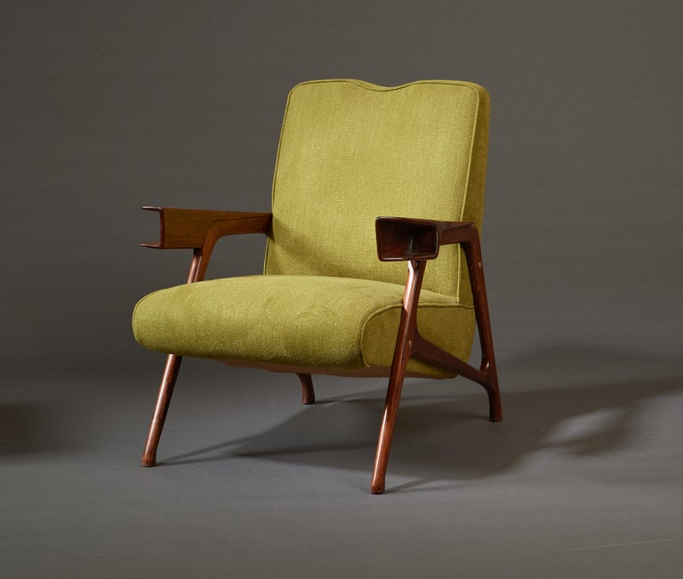 Augusto Romano, Architectural Mahogany Armchair and Ottoman, Italy, 1950s For Sale 6