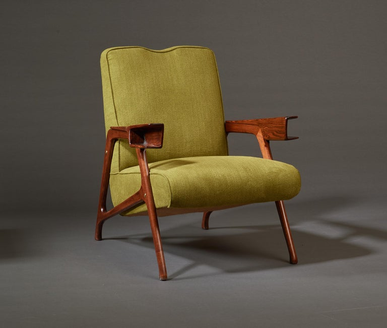 Augusto Romano, Architectural Mahogany Armchair and Ottoman, Italy, 1950s For Sale 7