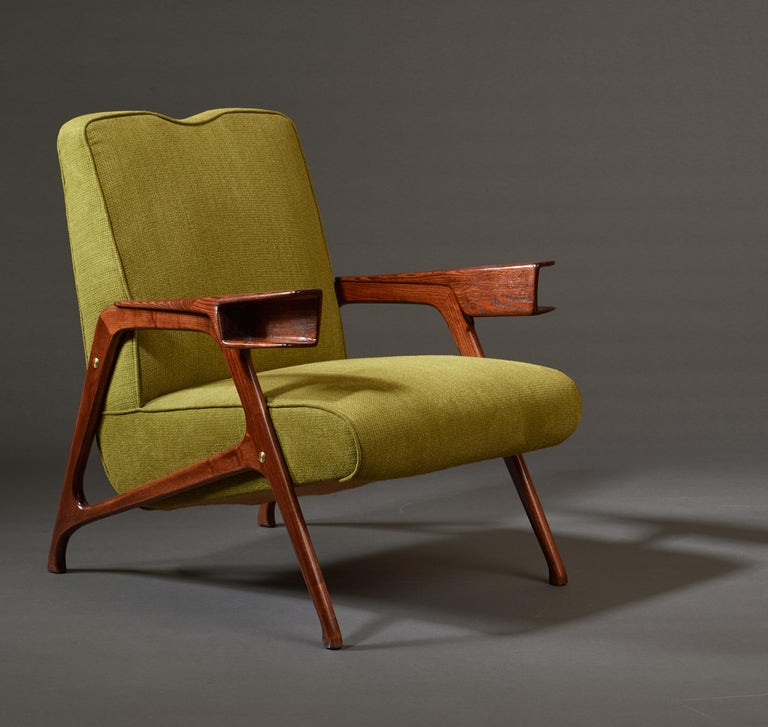 Augusto Romano, Architectural Mahogany Armchair and Ottoman, Italy, 1950s For Sale 8