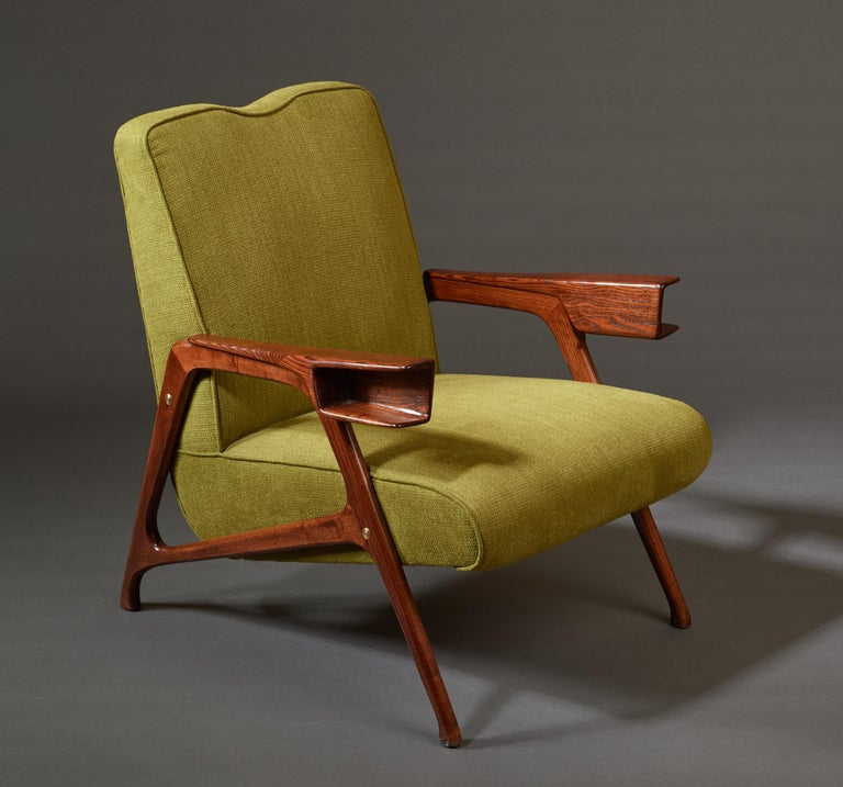 Augusto Romano, Architectural Mahogany Armchair and Ottoman, Italy, 1950s For Sale 9