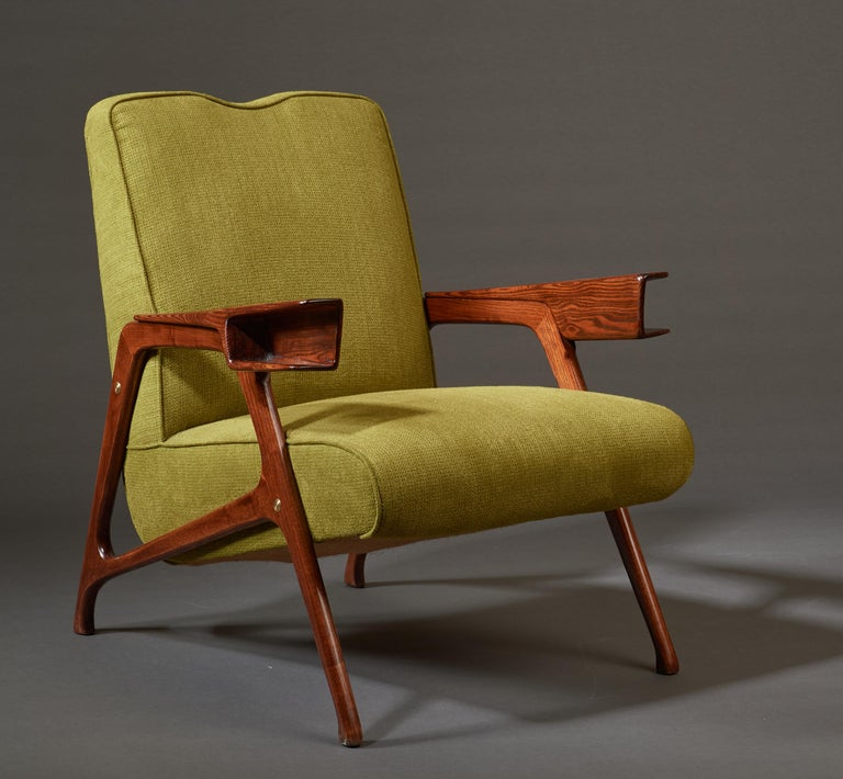 Augusto Romano, Architectural Mahogany Armchair and Ottoman, Italy, 1950s For Sale 10
