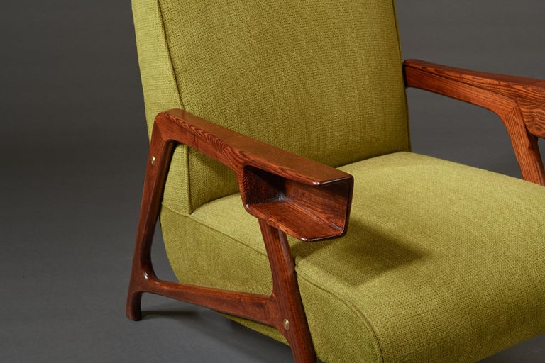 Augusto Romano, Architectural Mahogany Armchair and Ottoman, Italy, 1950s For Sale 12