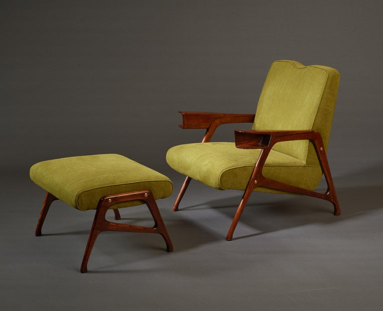 Mid-Century Modern Augusto Romano, Architectural Mahogany Armchair and Ottoman, Italy, 1950s For Sale