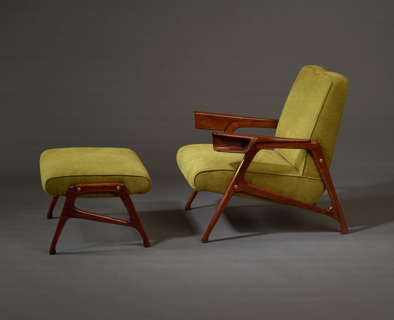 Italian Augusto Romano, Architectural Mahogany Armchair and Ottoman, Italy, 1950s For Sale