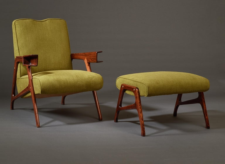 Mid-20th Century Augusto Romano, Architectural Mahogany Armchair and Ottoman, Italy, 1950s For Sale