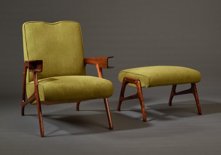 Fabric Augusto Romano, Architectural Mahogany Armchair and Ottoman, Italy, 1950s For Sale