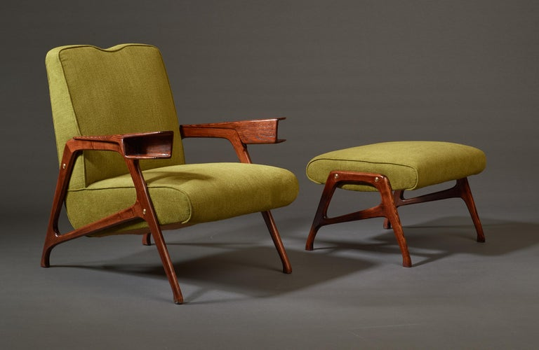 Augusto Romano, Architectural Mahogany Armchair and Ottoman, Italy, 1950s For Sale 2