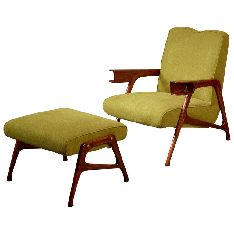 Augusto Romano, Architectural Mahogany Armchair and Ottoman, Italy, 1950s For Sale