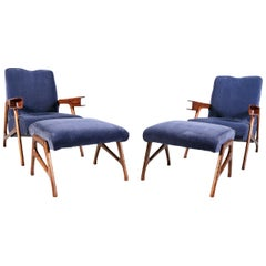 Pair of Augusto Romano Italian mid 20th Century Armchairs with Matching Ottomans