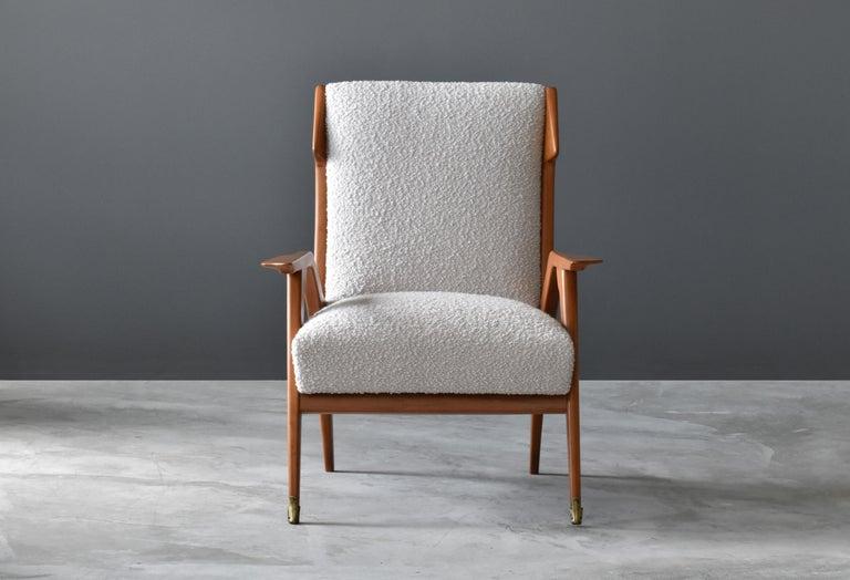 Italian Augusto Romano 'Attribution', Lounge Chair, Oak, Brass, Bouclé, Italy, 1950s For Sale
