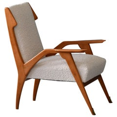Augusto Romano 'Attribution', Lounge Chair, Oak, Brass, Bouclé, Italy, 1950s