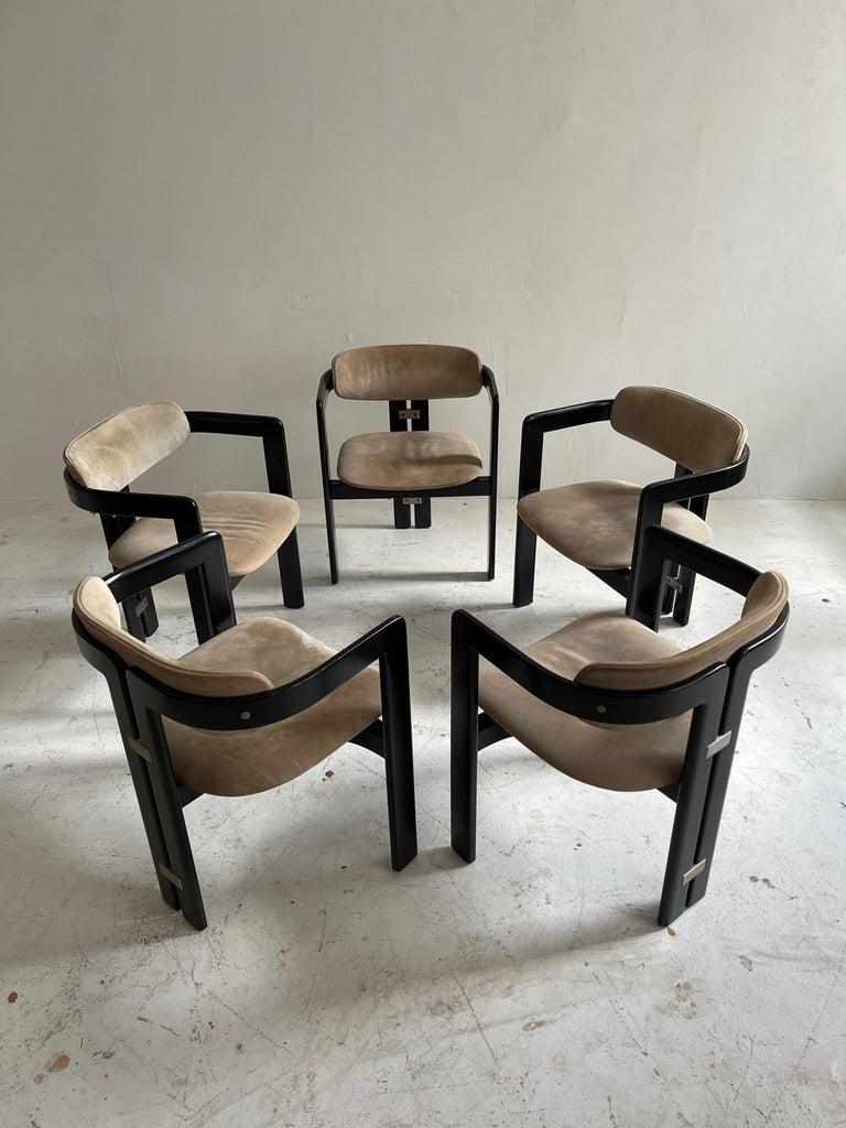 Augusto Savini Dining Room Set of Five 'Pamplona' Dining Chairs Dining Table For Sale 5
