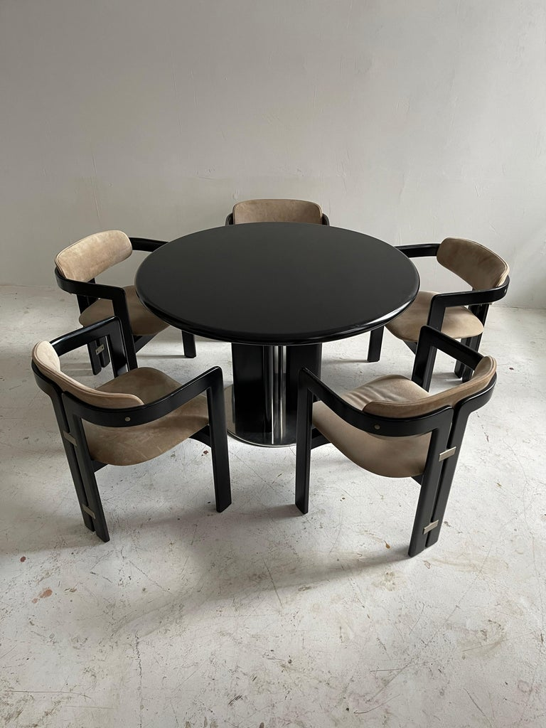 Augusto Savini dining room set of five 'Pamplona' dining chairs dining table.