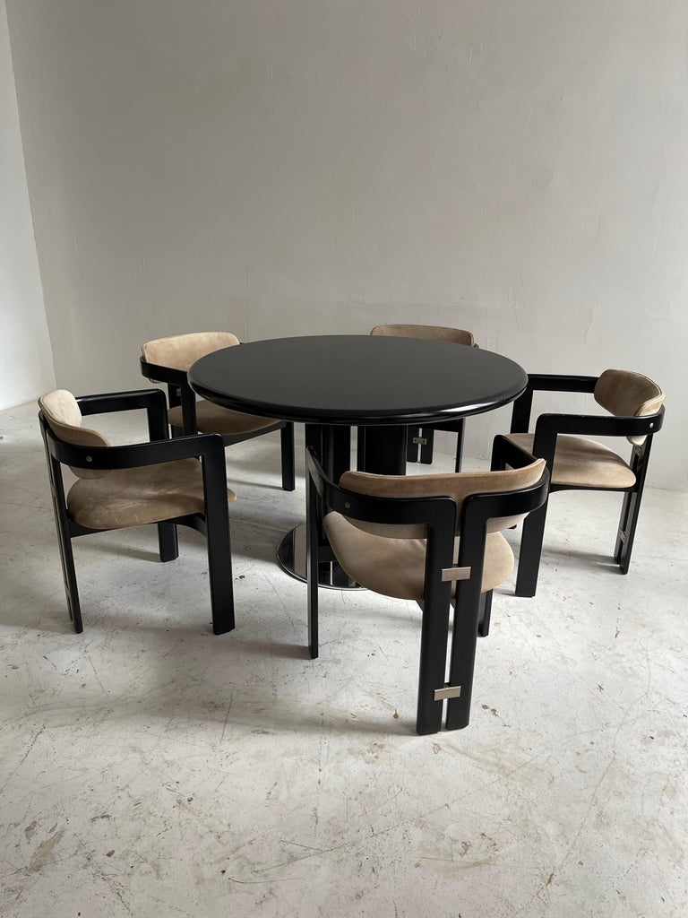 Mid-Century Modern Augusto Savini Dining Room Set of Five 'Pamplona' Dining Chairs Dining Table For Sale