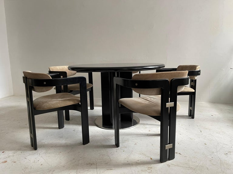 Italian Augusto Savini Dining Room Set of Five 'Pamplona' Dining Chairs Dining Table For Sale